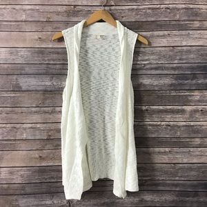 Eileen Fisher Knit Sweater Vest White Cotton M B7